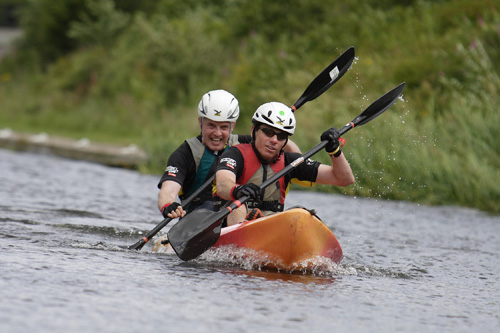 Canoeing down the scenic canal in Sighthill, Edinburgh