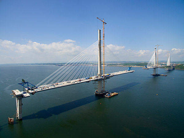 Drone shot of the Queensferry Crossing